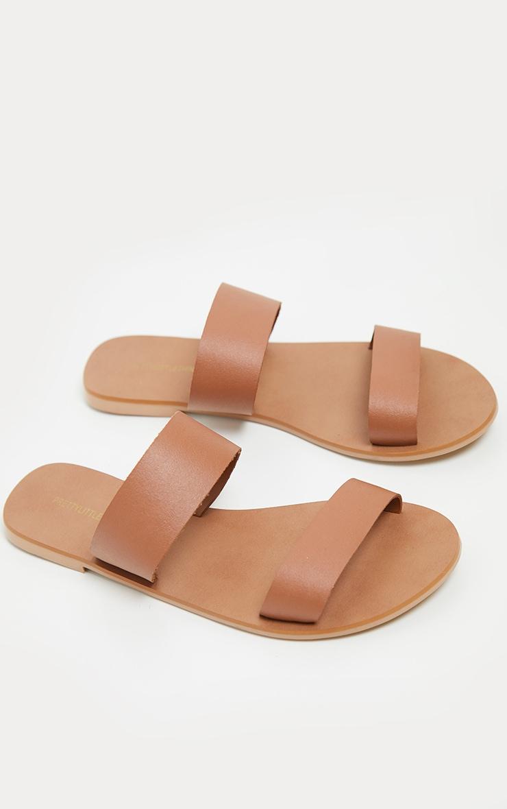 Tan Twin Strap Basic Leather Sandal 4