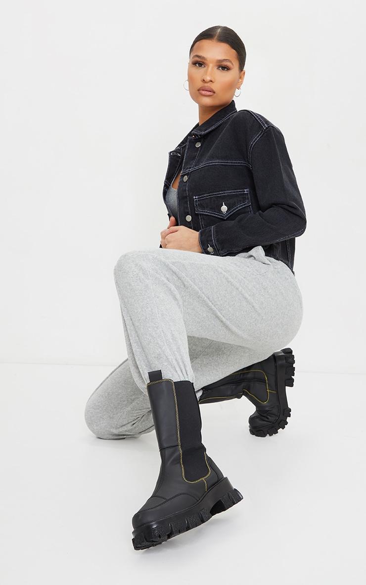 Black With White Contrast Stich Oversized Cropped Pocket Detail Denim Jacket 3