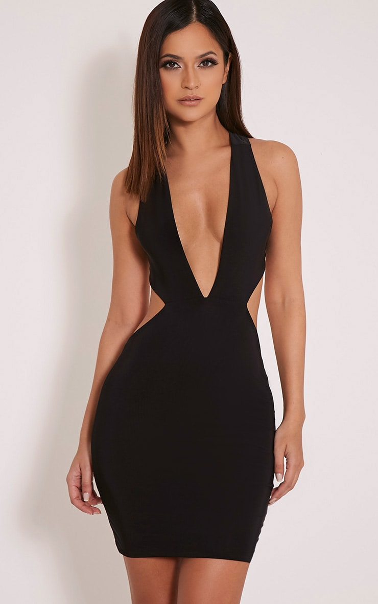 Biddy Black Deep V Plunge Bodycon Dress 1