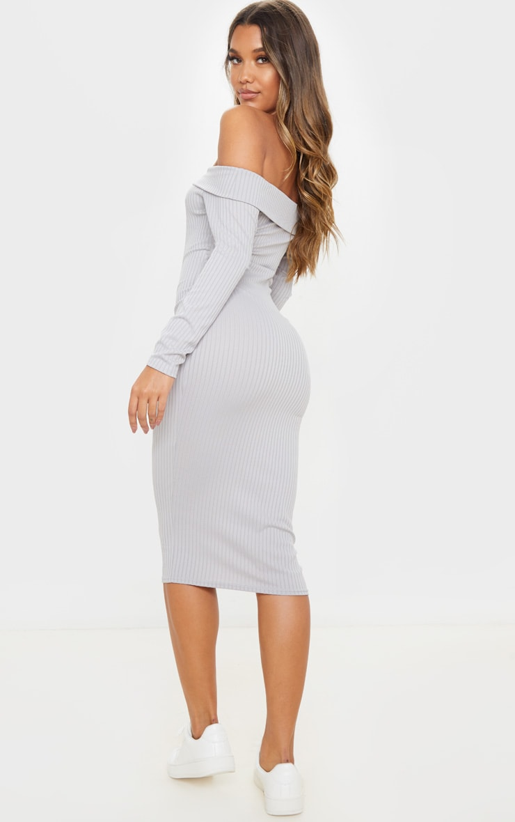 Grey Ribbed Folded Bardot Midi Dress 2