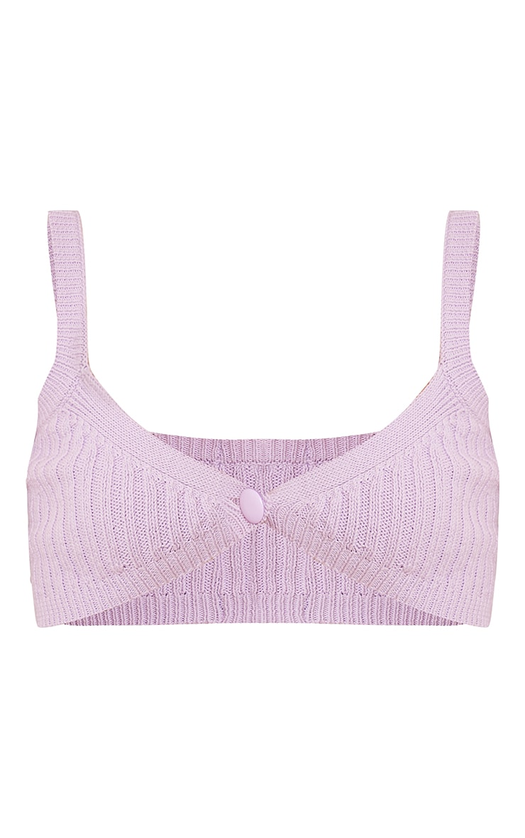 Lilac Ribbed Knitted Button Bralet 5