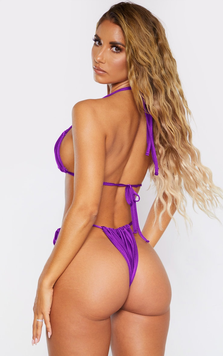 Purple Halterneck Mini Ruched Triangle Bikini Top 2