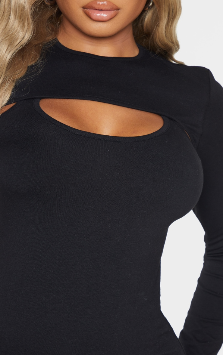 Recycled Shape Black Cotton Cut Out Long Sleeve Bodycon Dress 4