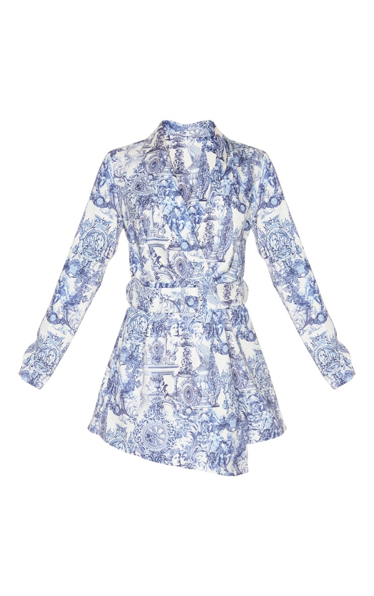 Multi Renaissance Print Long Sleeve Tailored Belted Romper 3