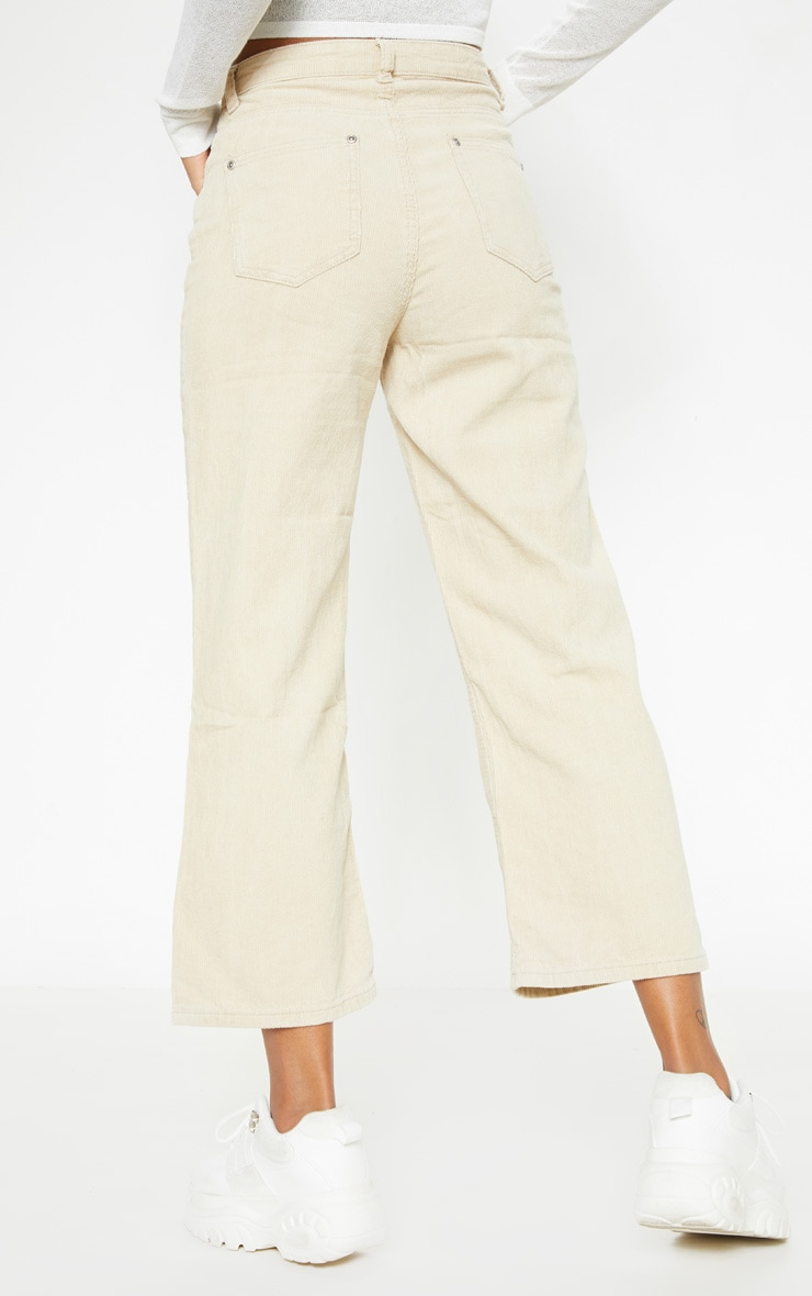 Stone Cord Wide Leg Utility Cropped Jeans 3
