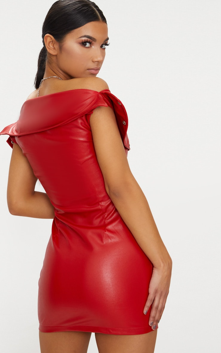 Red Faux Leather Bardot Waist Belt Bodycon Dress 4