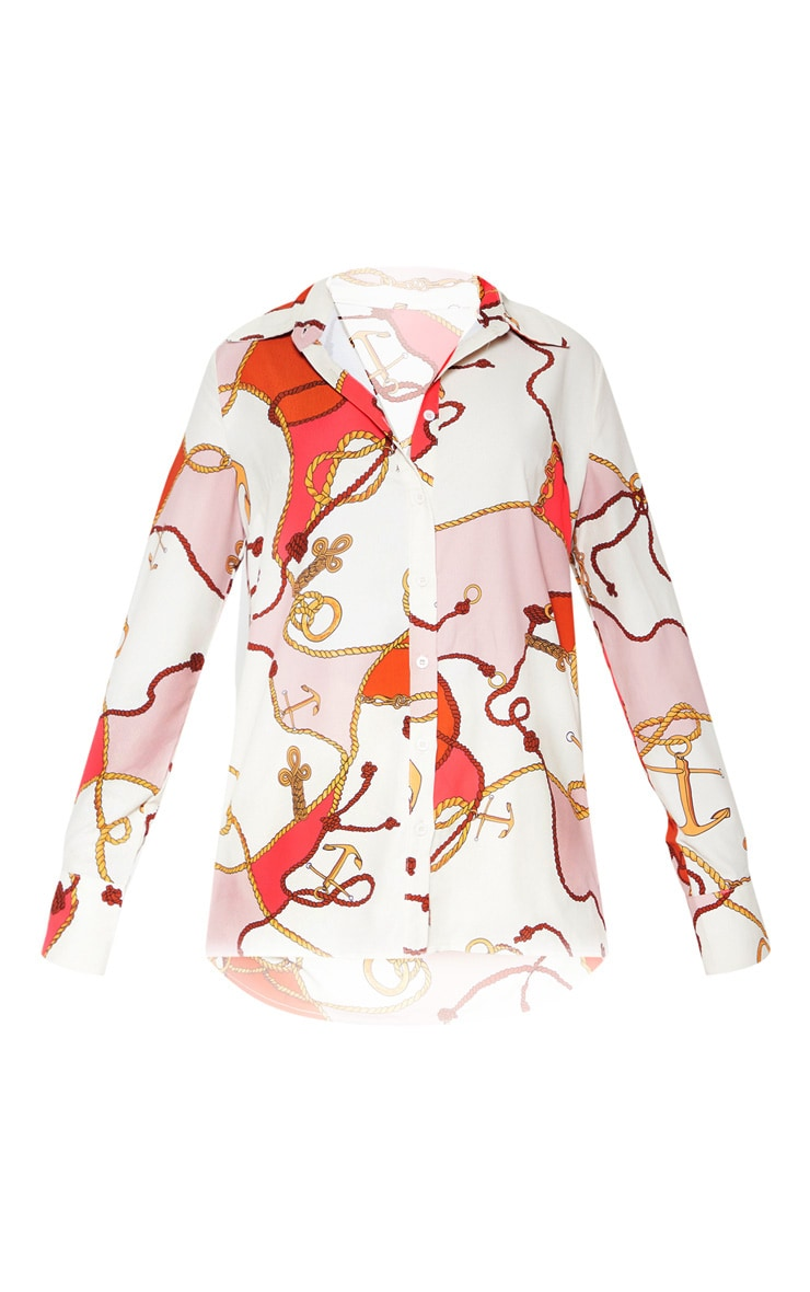 White Satin Rope Print Oversized Shirt 3