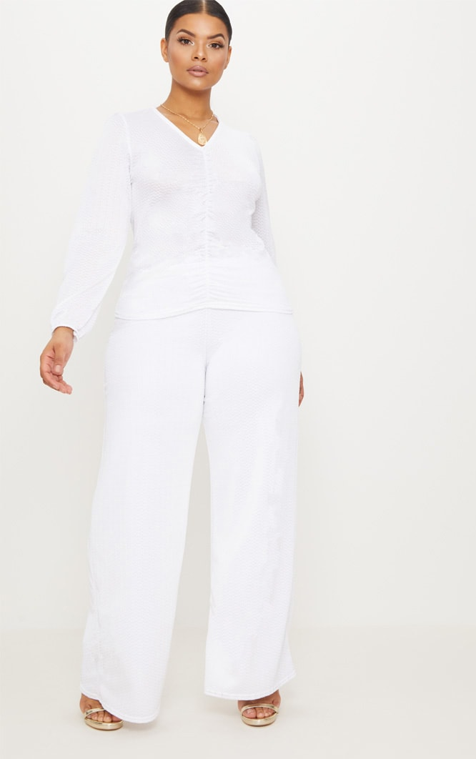 Plus White Textured Plunge Top 4