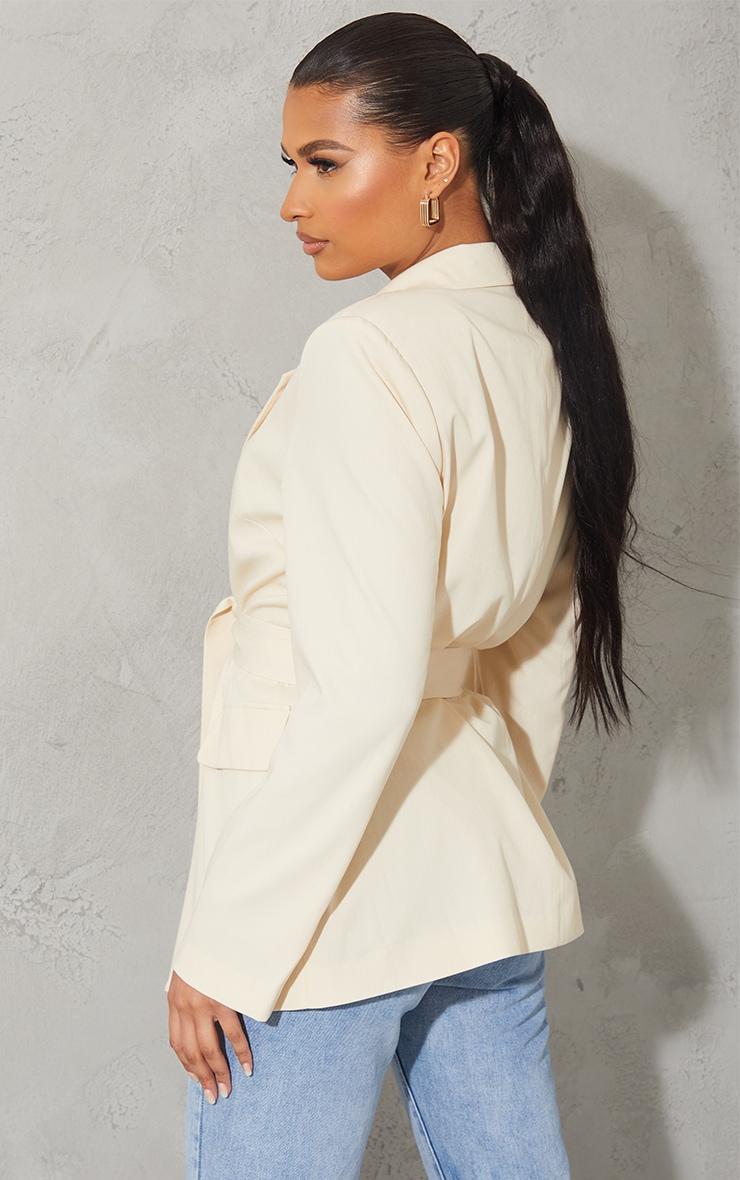 Cream Woven Oversized Pocket Front Belted Blazer 2