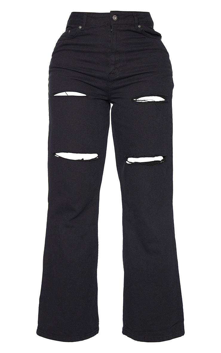 PRETTYLITTLETHING Shape - Jean large noir à détail déchiré 5