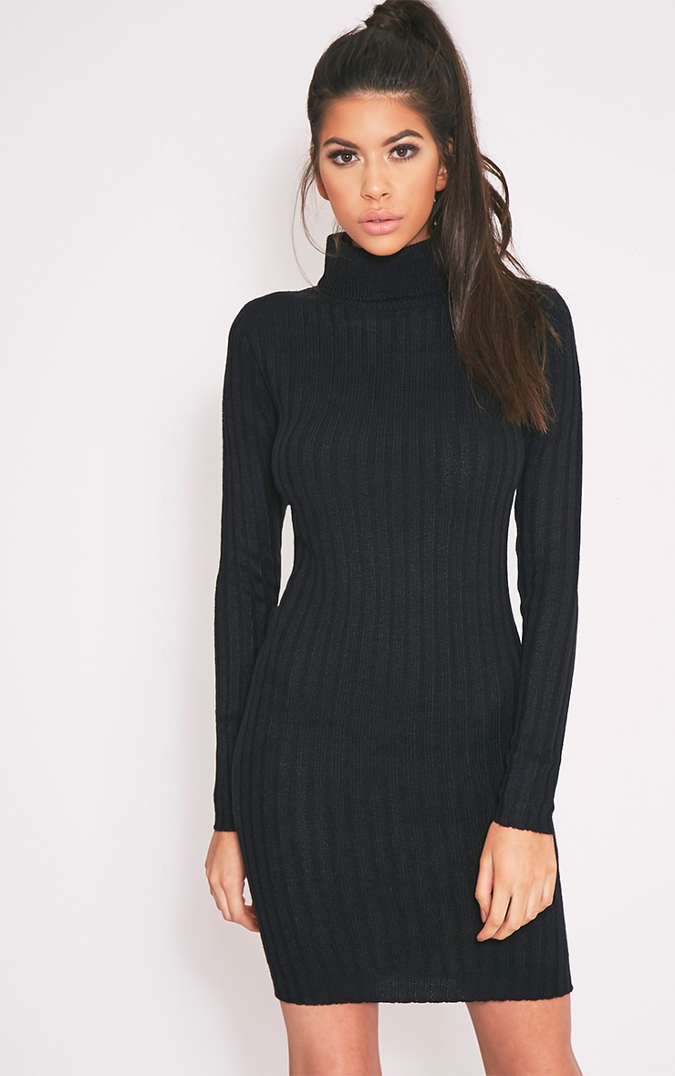 Bianca robe pull noire côtelée à col roulé 1
