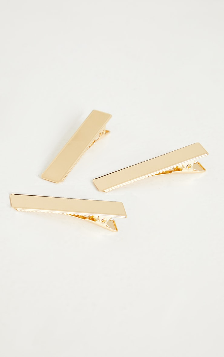 Gold Chunky Square 3 Pack Hair Clip 3