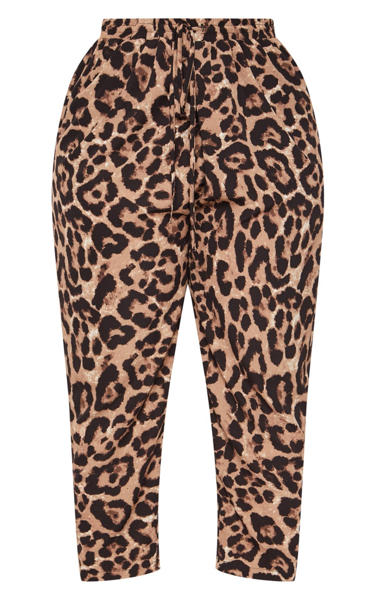 Plus Tan  Leopard Print Casual Pants  3
