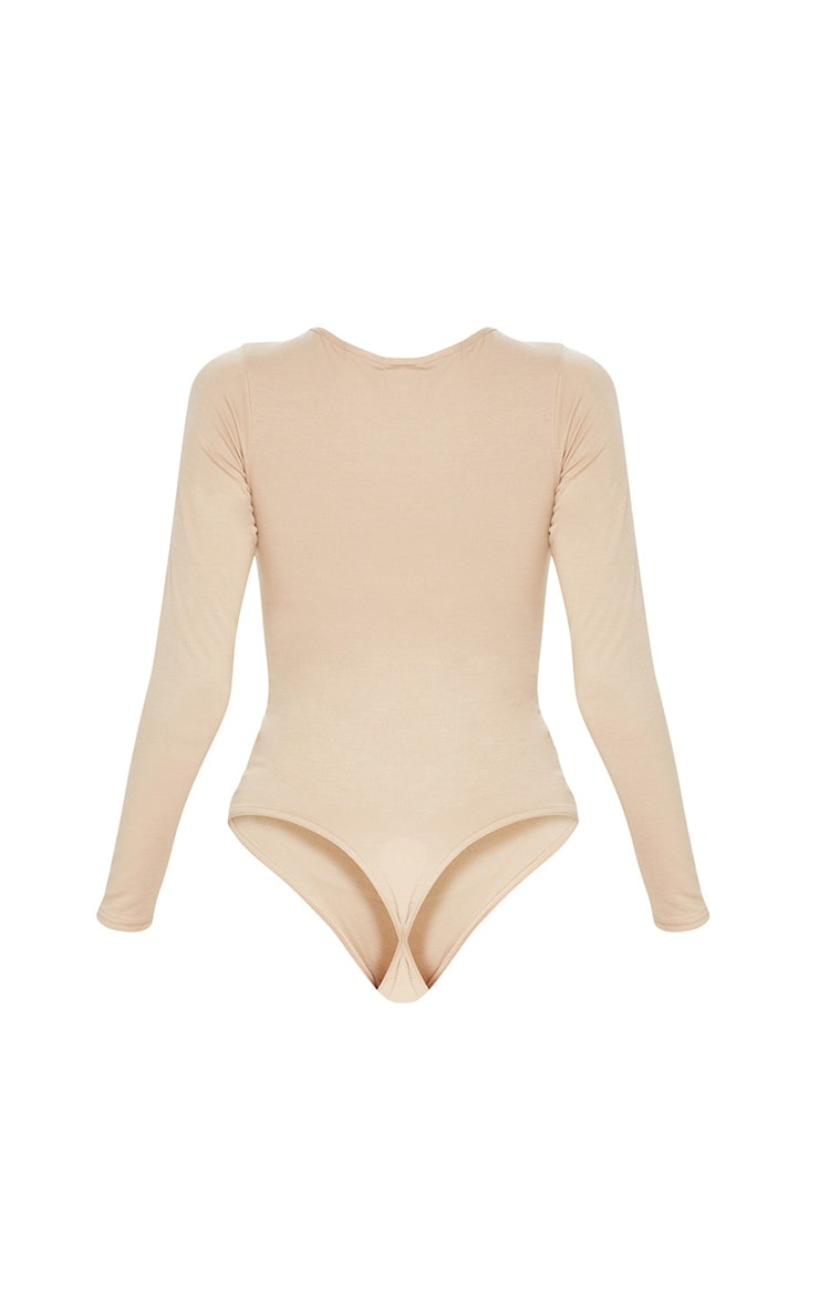 Basic Stone Crew Neck Long Sleeve Bodysuit 4