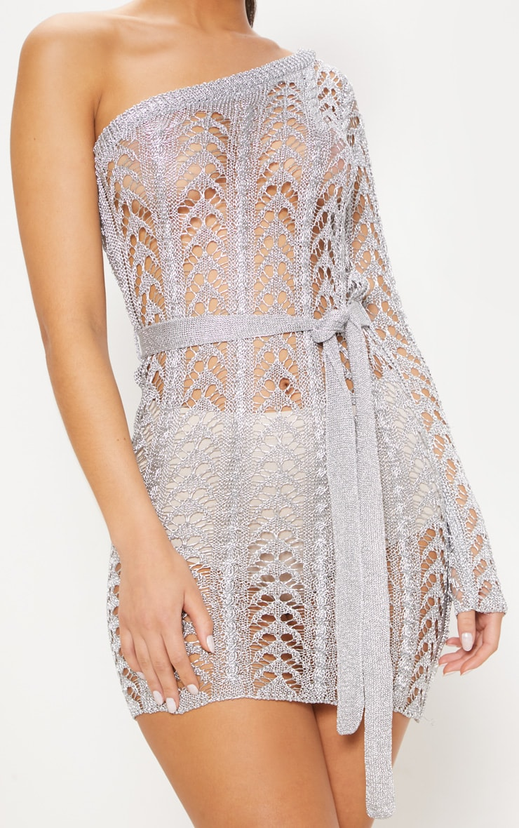 Silver Metallic Knitted Chain Detail One Shoulder Mini Dress 5