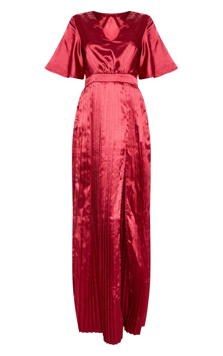 Maroon Satin Flared Sleeve Pleated Maxi Dress 3