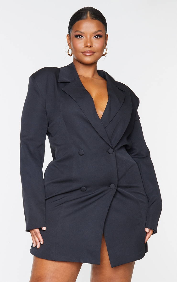 Plus Black Double Breasted Backless Blazer Dress 2