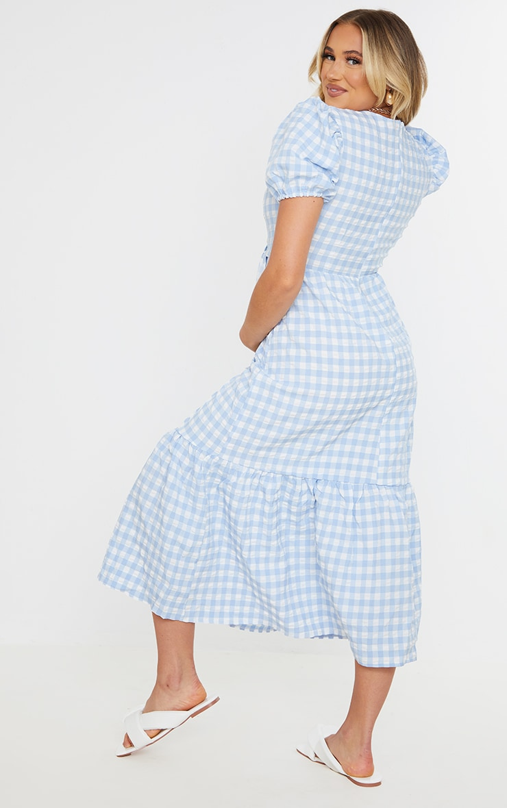 Maternity Blue Gingham Woven Tiered Smock Midaxi Dress 2