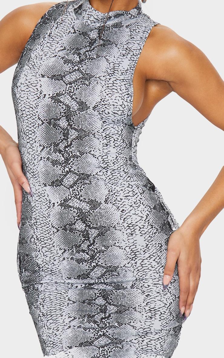 Grey Snake Print High Neck Midi Dress 4