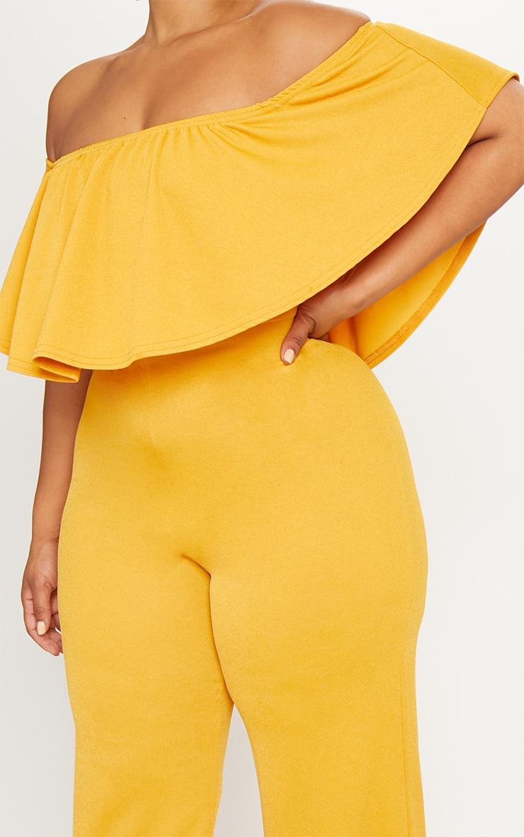 Plus Mustard Bardot Frill Culotte Jumpsuit 5