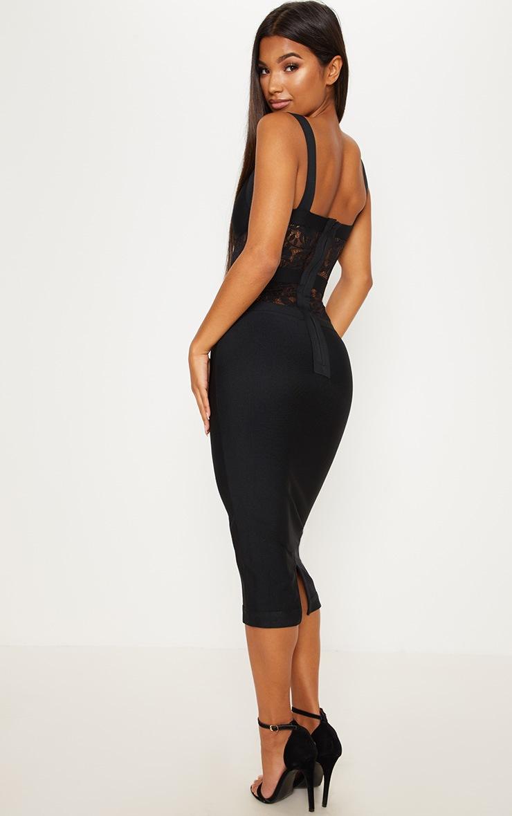 Black Bandage Lace Insert Midi Dress 2
