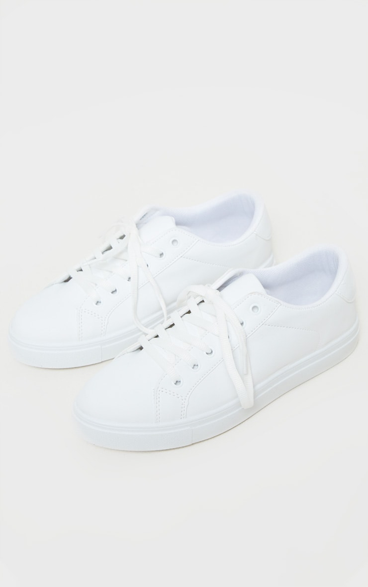 White Lace Up PU Trainer 4
