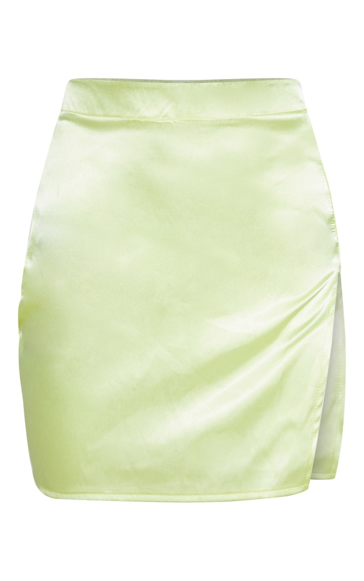 Lime Satin High Waisted Slit Mini Skirt 3