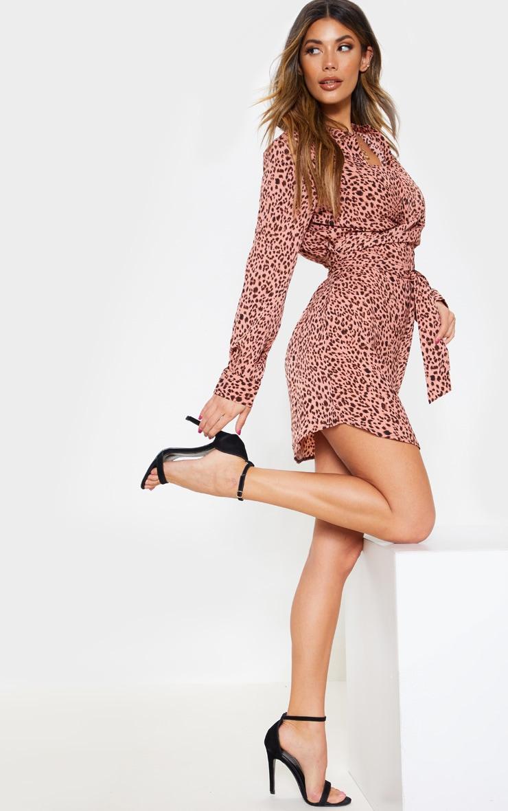 Pink Leopard Print Tie Waist Collarless Shirt Dress 4