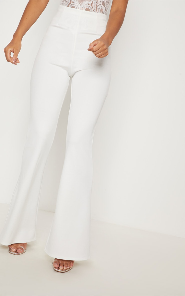 4864c7b5 White Seam Detail Flared Pants