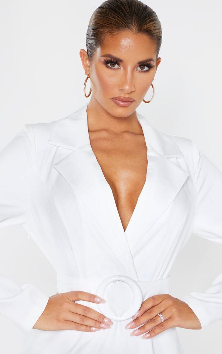 White Ring Belt Blazer Style Dress 5