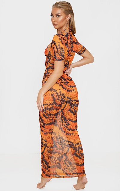 Orange Feather Short Sleeve Scoop Mesh Maxi Dress