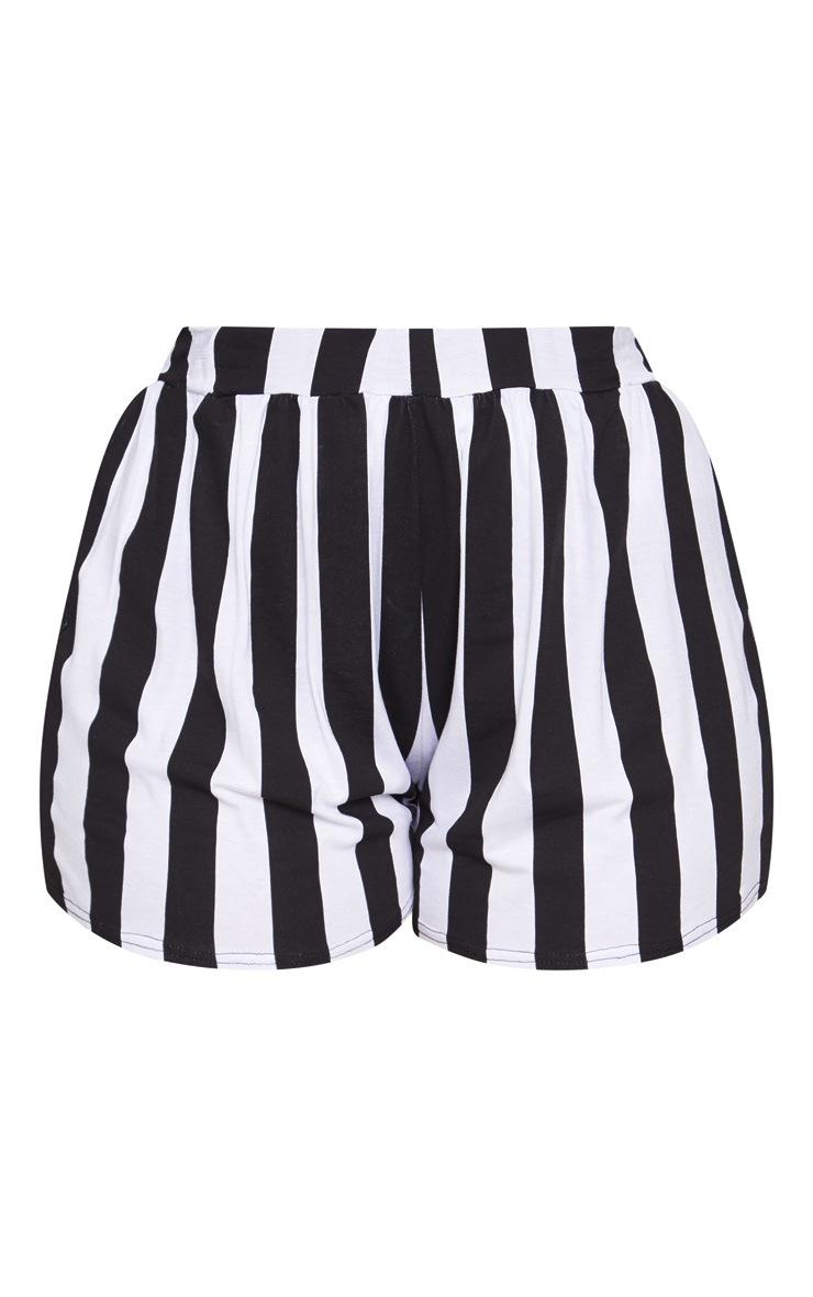 Plus Monochrome Striped Floaty Shorts 3