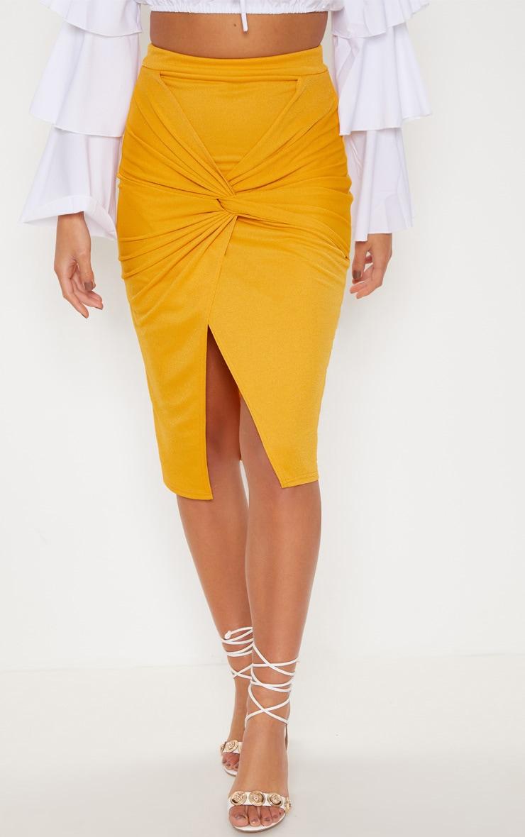 Mustard Twist Front Midi Skirt 2