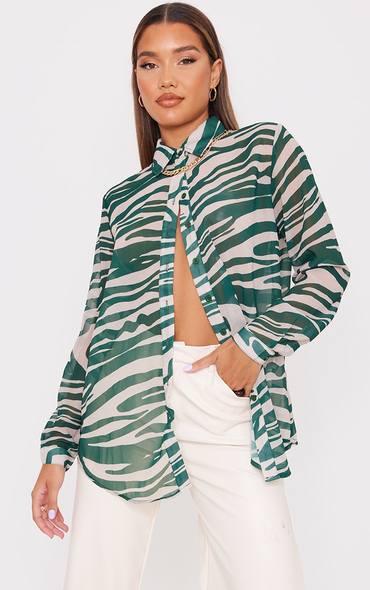 Khaki Zebra Print Chiffon Oversized Shirt 1