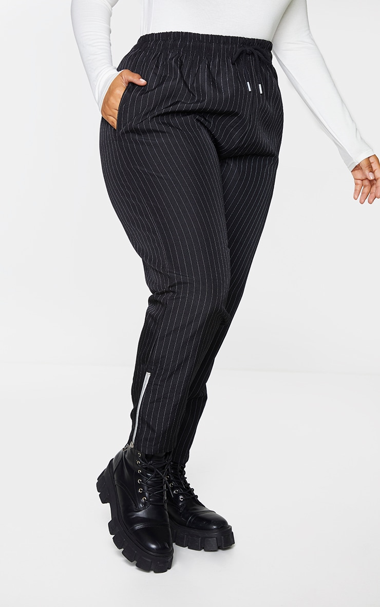 Plus Black Pinstripe High Waist Trouser with Contrast Zip 2
