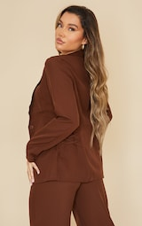 Chocolate Fitted Side Tie Up Corset Detail Blazer 2