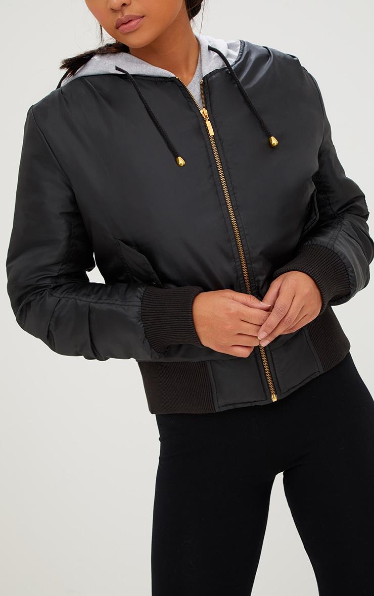 Black Sweatshirt Hooded Bomber Jacket 5