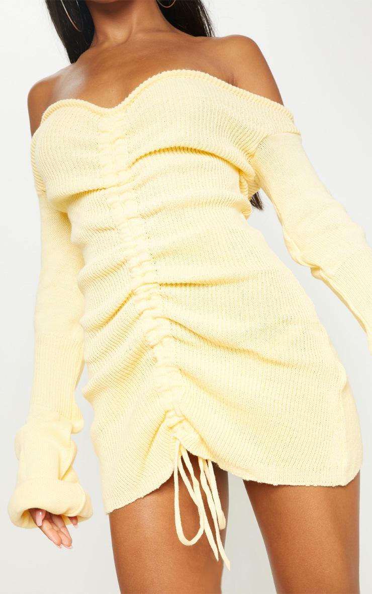 Lemon Ruched Knit Dress 5