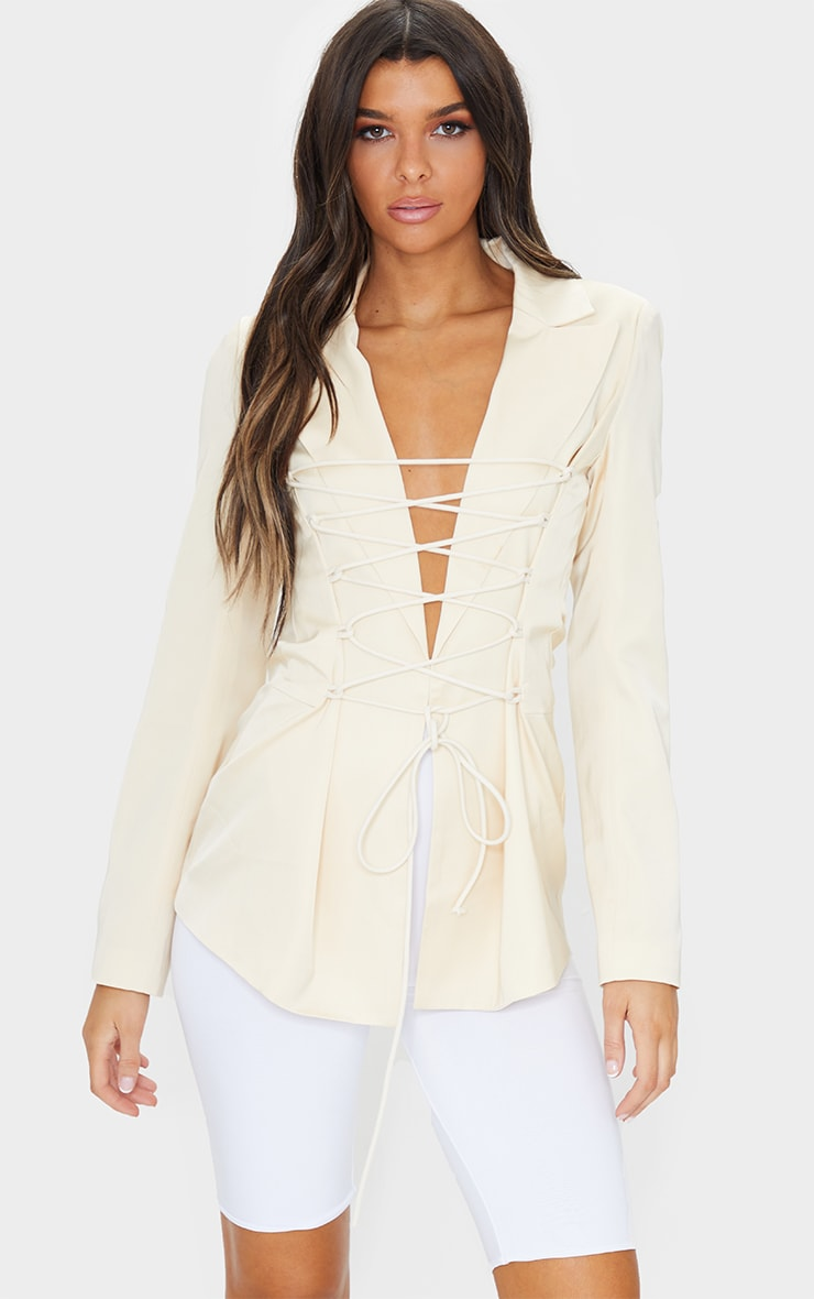 CREAM LACE FRONT FITTED WAIST LONGLINE BLAZER