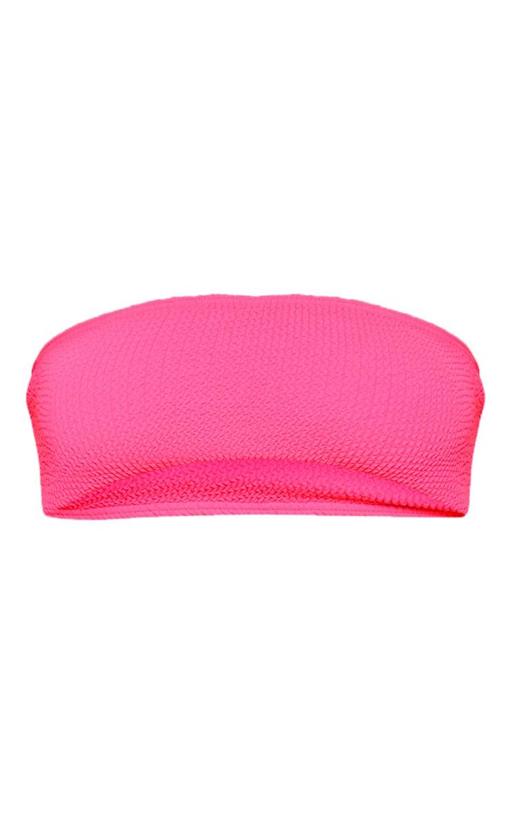 Neon Pink Crinkle Bandeau Bikini Top 5