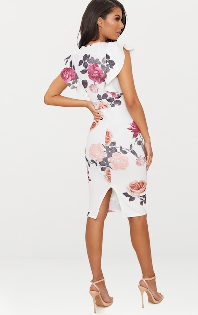 White Floral Print Frill Detail Midi Dress