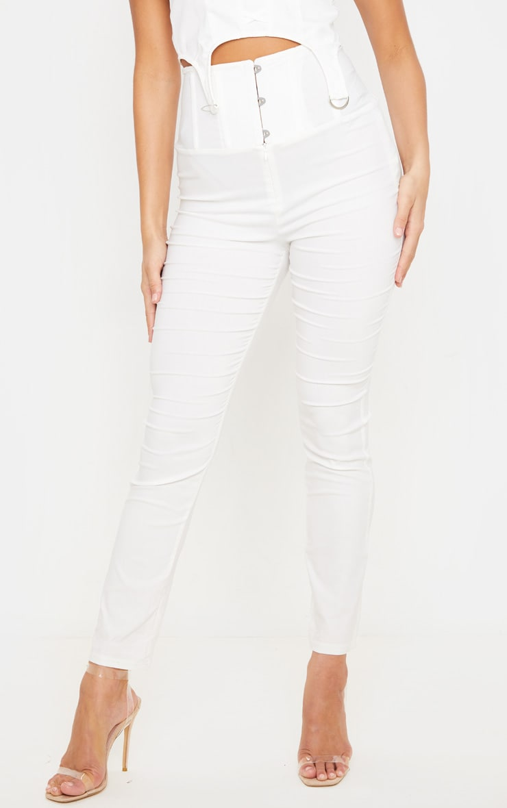 Cream Skinny Corset Detail Pants 2