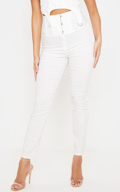 Cream Skinny Corset Detail Trouser
