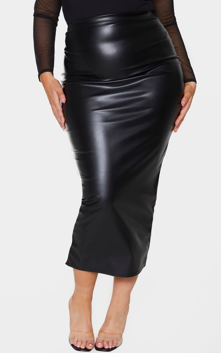 Plus Black PU Split Back Midaxi Skirt 2