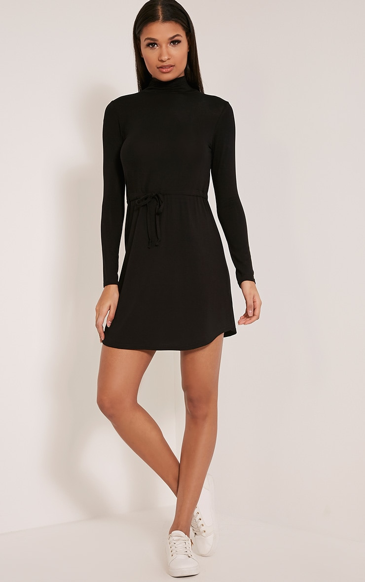 Dorathea Black Tie Waist Long Sleeve Jersey Dress 5
