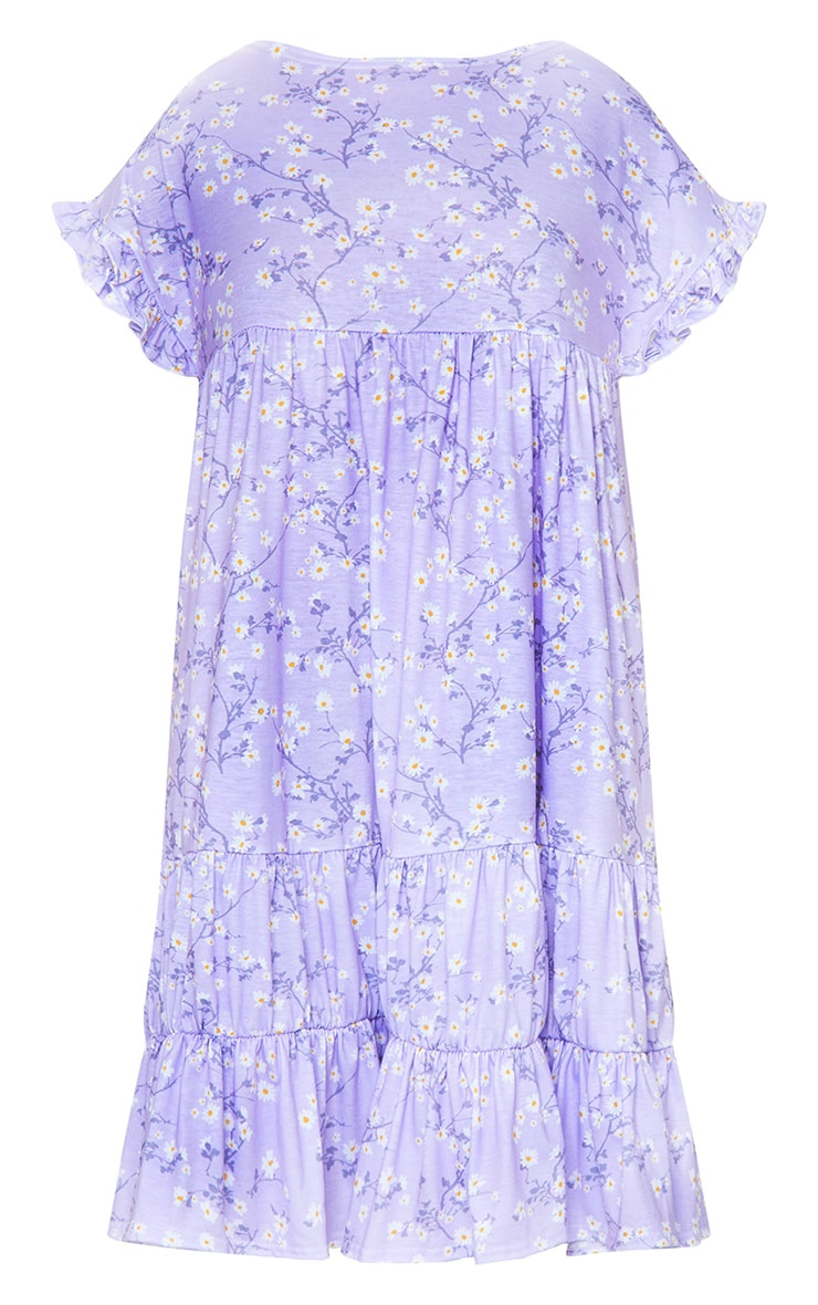 Lilac Ditsy Print Frill Sleeve Smock Dress 5