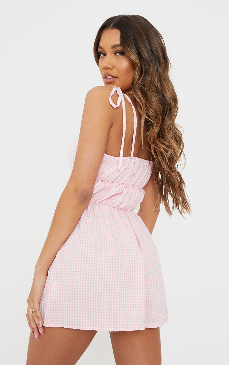 Pink Gingham Tie Strap Ruched Playsuit 2