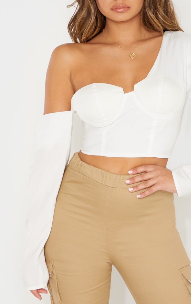 White One Shoulder Cup Detail Crop Shirt 5