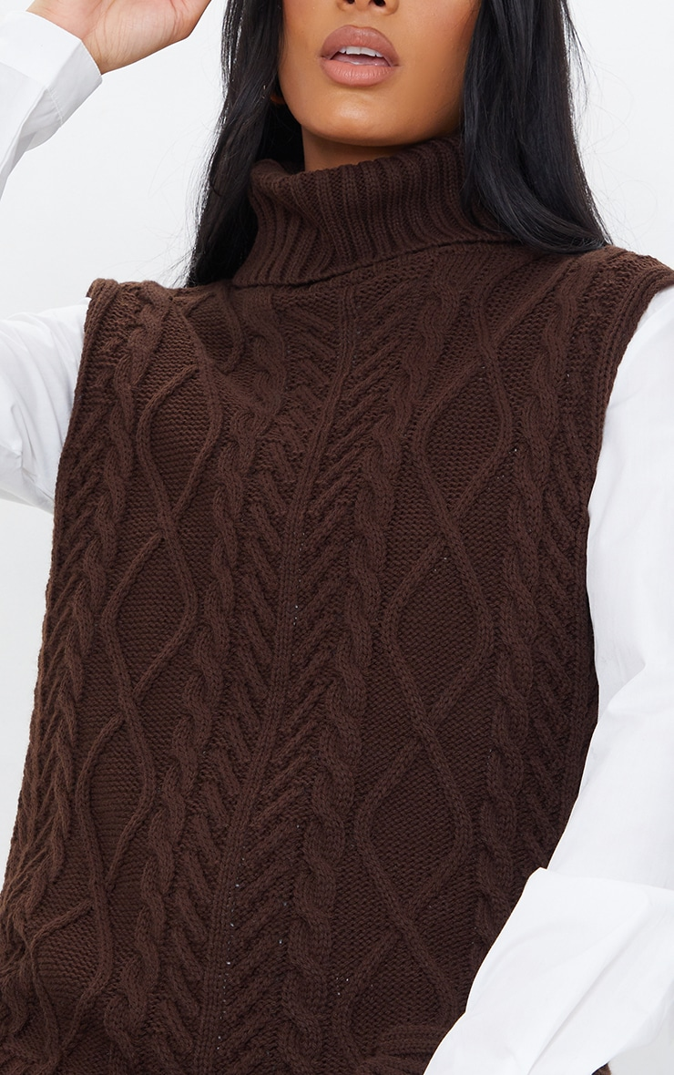 Chocolate Longline Sleeveless Cable Roll Neck Sweater 4