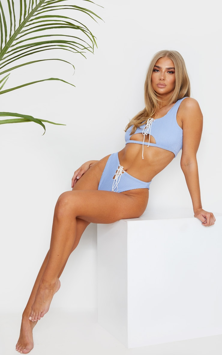 Baby Blue Ribbed Lace Up Bikini Top 3
